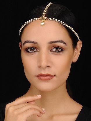 Gold Tone Kundan Pearl Beaded Handcrafted Maatha Patti