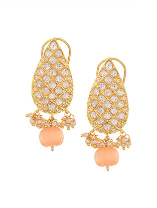Peach Gold Tone Earrings with Pearls