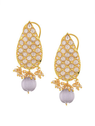 Grey Gold Tone Earrings with Pearls