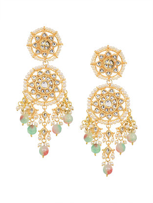 Green Pink Gold Tone Beaded Kundan Earrings with Pearls