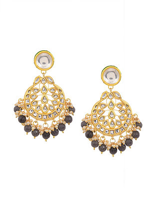 Black Gold Tone Kundan Earrings with Pearls