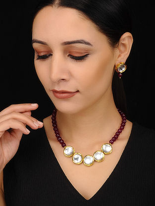 Maroon Golden Kundan Beaded Necklace with Earrings (Set of 2)
