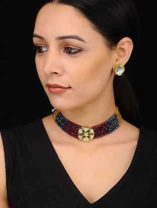 Multicolored Gold Tone Kundan Beaded Necklace with Earrings (Set of 2)