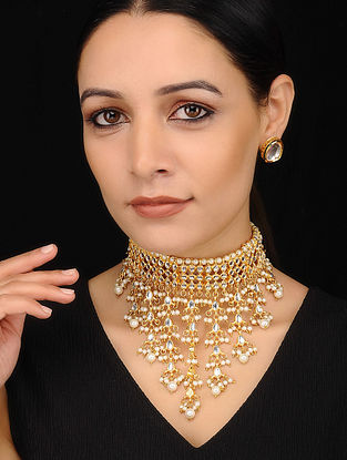 Gold Tone Kundan Necklace with Earrings (Set of 2)