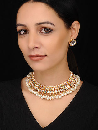 Gold Tone Kundan Pearl Beaded Necklace with Earrings (Set of 2)