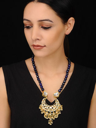 Blue Gold Tone Kundan Beaded Necklace with Pearls