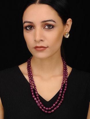 Maroon Beaded Necklace with Kundan Earrings (Set of 2)