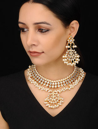 Gold Tone Kundan Necklace Pearl Beaded with Earrings (Set of 2)