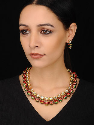 Red Green Gold Tone Enameled Kundan Necklace with Earrings (Set of 2)