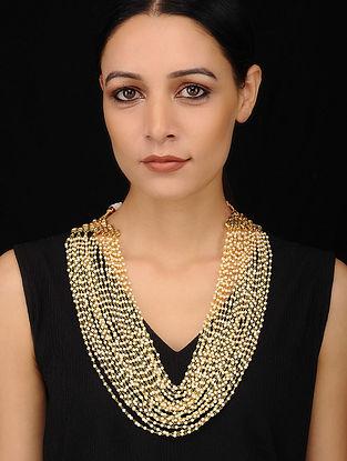 Gold Tone Kundan Pearl Beaded Necklace