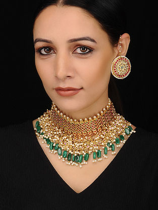 Green Red Gold Tone Necklace with Earrings (Set of 2)