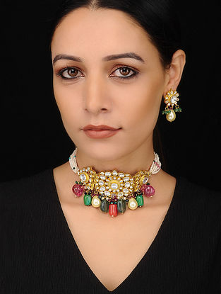 Multocolored Kundan Pearl Beaded Necklace with Earrings (Set of 2)