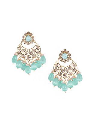 Blue Gold Tone Kundan Earrings