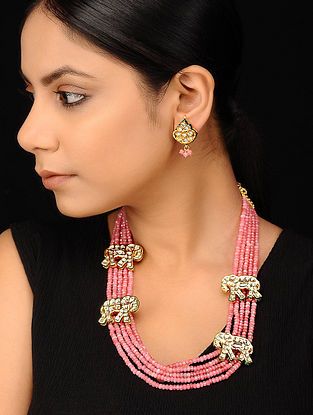 Pink Gold Tone Kundan Necklace with Earrings (Set of 2)