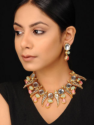 Pink Green Gold Tone Kundan Necklace with Earrings (Set of 2)