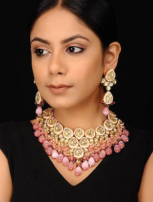 Pink Gold Tone Kundan Enameled Necklace with Earrings (Set of 2)