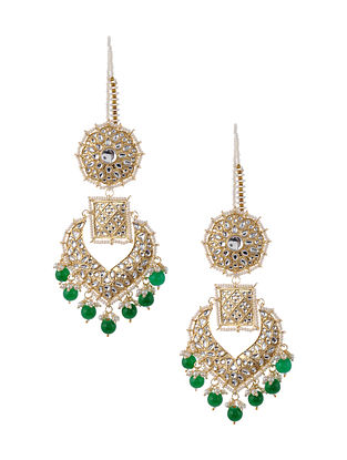 Green Gold Tone Kundan Inspired Earrings with Pearls