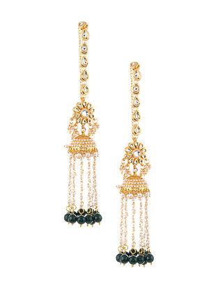 Green Gold Tone Kundan Beaded Jhumki Earrings with Chain