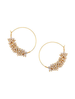 Gold Tone Hoop Earrings with Pearls