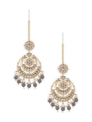 Grey Gold Tone Kundan Earrings with Earchains