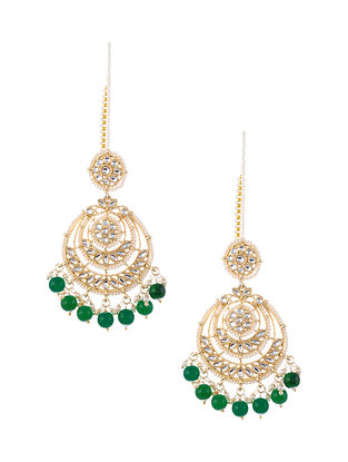 Green Gold Tone Kundan Earrings with Earchains