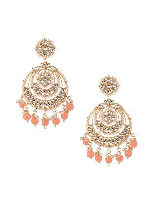 Peach Gold Tone Kundan Beaded Earrings