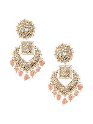 Peach Gold Tone Kundan Earrings