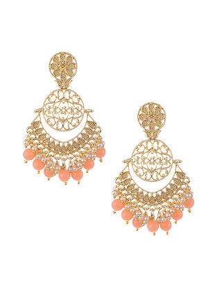 Peach Gold Tone Handcrafted Earrings