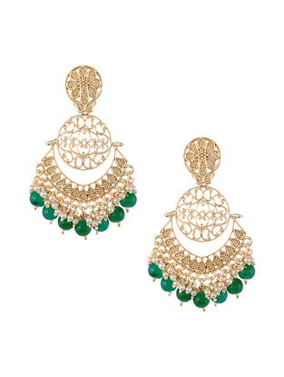 Green Gold Tone Handcrafted Earrings with Pearls