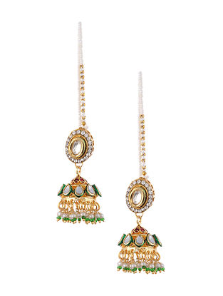 Green Gold Tone Kundan Jhumki Earrings with Earchains