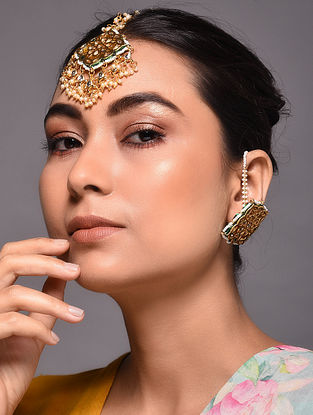 Gold Tone Kundan Inspired Earrings with Maang Tikka