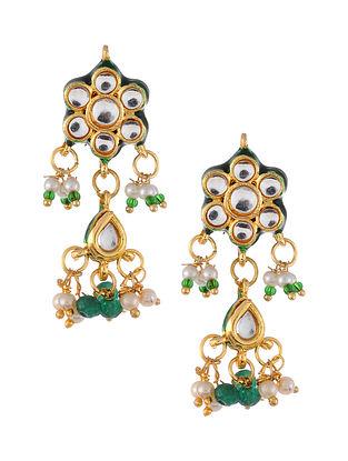 Green Gold Tone Kundan Earrings