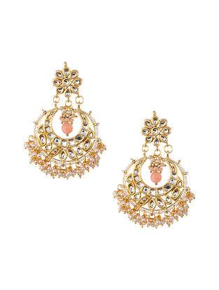 Peach Gold Tone Kundan Earrings with Pearls