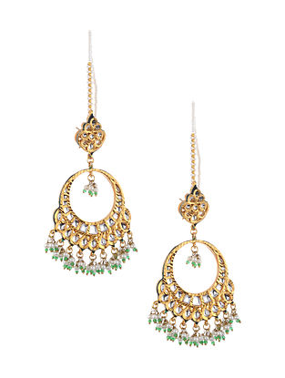 Green White Gold Tone Kundan Chandbali with Pearls