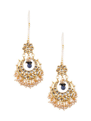 Blue Gold Tone Kundan Earrings with Earchains