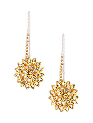 Gold Tone Kundan Earrings with Earchains