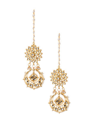 Gold Tone Kundan Beaded Earrings with Earchains