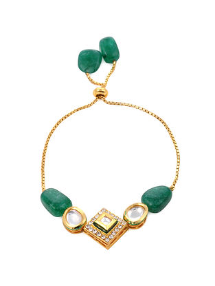 Green Gold Tone Kundan Bracelet