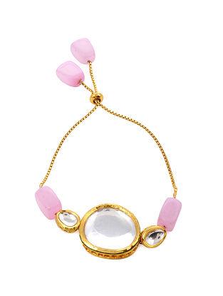 Pink Gold Tone Kundan Bracelet