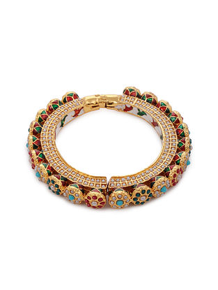 Multicolored Gold Tone Kundan Bangle with Pearls