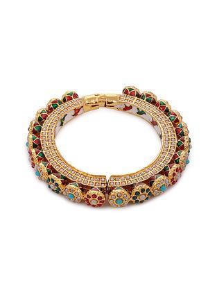 Multicolored Gold Tone Kundan Bangle with Pearls