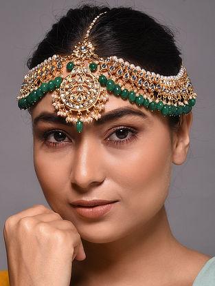 Green Gold Tone Kundan Maatha Patti