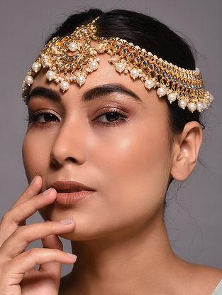 Gold Tone Kundan Maatha Patti with Pearls