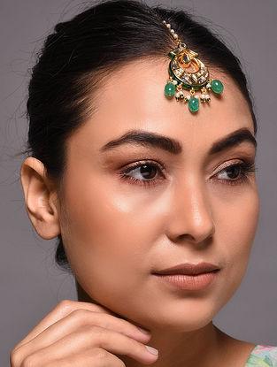 Green Gold Tone Kundan Maang Tikka with Pearls