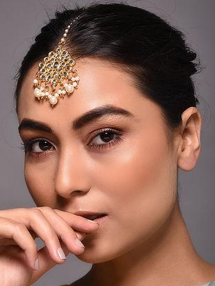 Gold Tone Kundan Inspired Maang Tikka with Pearls