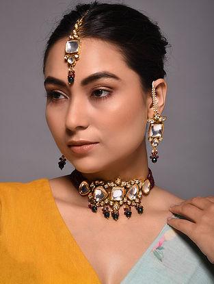 Green Maroon Gold Tone Kundan Beaded Necklace with Earrings and Maang Tikka