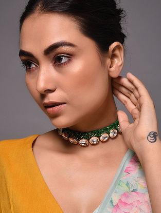 Green Gold Tone Kundan Necklace