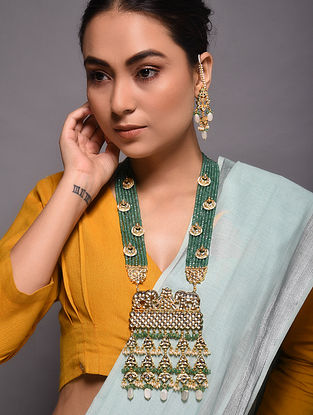 Green Gold Tone Kundan Beaded Necklace with Earrings