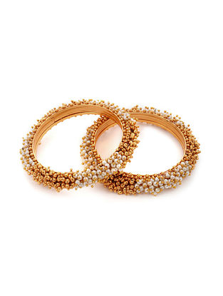 Gold Tone Handcrafted Bangles with Pearls