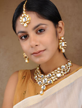Gold Tone Kundan Inspired Pearl Necklace with Earrings and Mang Tikka (Set of 3)